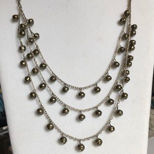 JCrew Multi Layer Green Pearl Necklace